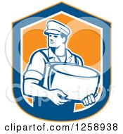Clipart Of A Retro Male Cheesemaker Holding A Parmesan Round In An Orange Blue And White Shield Royalty Free Vector Illustration