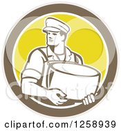 Clipart Of A Retro Male Cheesemaker Holding A Parmesan Round In A Tan Brown White And Yellow Circle Royalty Free Vector Illustration by patrimonio