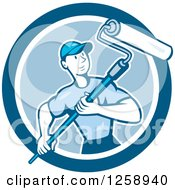 Poster, Art Print Of Retro Cartoon Male House Painter With A Roller Brush In A Blue Circle