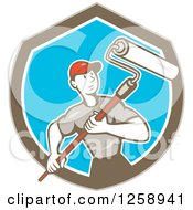 Clipart Of A Retro Cartoon Male House Painter With A Roller Brush In A Brown White And Blue Shield Royalty Free Vector Illustration