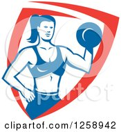 Clipart Of A Retro Muscular Fit Woman Working Out With A Dummbell In A Red White And Blue Shield Royalty Free Vector Illustration