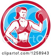 Retro Muscular Fit Woman Working Out With A Dummbell In A Red White And Blue Circle