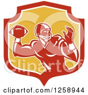 Clipart Of A Retro Male American Football Player Throwing In A Red White And Yellow Shield Royalty Free Vector Illustration by patrimonio
