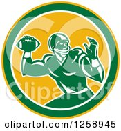 Clipart Of A Retro Male American Football Player Throwing In A Yellow White And Green Circle Royalty Free Vector Illustration by patrimonio