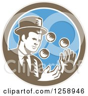 Retro Woodcut Male Magician Juggling In A Brown White And Blue Circle