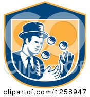 Clipart Of A Retro Woodcut Male Magician Juggling In A Yellow Blue And White Shield Royalty Free Vector Illustration by patrimonio