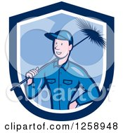 Clipart Of A Cartoon White Male Chimney Sweep In A Blue And White Shield Royalty Free Vector Illustration by patrimonio