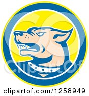 Clipart Of A Retro Angry Guard Dog In A Yellow Blue And White Circle Royalty Free Vector Illustration by patrimonio