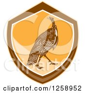 Clipart Of A Retro Turkey Bird In An Orange And Brown Shield Royalty Free Vector Illustration