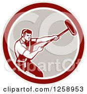 Clipart Of A Retro Male Soundman Film Crew Guy Holding A Microphone In A Circle Royalty Free Vector Illustration