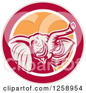 Clipart Of A Retro Angry Elephant In A Taupe Red White And Orange Circle Royalty Free Vector Illustration by patrimonio