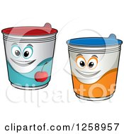 Clipart Of Happy Yogurt Characters Royalty Free Vector Illustration by Vector Tradition SM