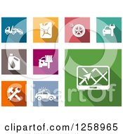 Clipart Of Colorful Square Icons With White Automotive Designs Royalty Free Vector Illustration by Vector Tradition SM