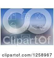 Clipart Of White Automotive Icons On Blurred Blue Royalty Free Vector Illustration
