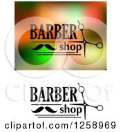 Clipart Of A Barber Shop Text With A Mustache And Scissors Royalty Free Vector Illustration