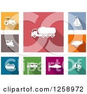 Colorful Square Icons With White Transportation Vehicles