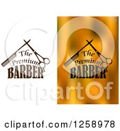 Clipart Of The Premium Barber Text With A Scissors And Combs Royalty Free Vector Illustration