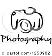 Clipart Of A Black And White Camera With Photography Text Royalty Free Vector Illustration by Vector Tradition SM