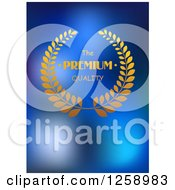 Clipart Of A Gold Premium Quality Design Over Blue Royalty Free Vector Illustration