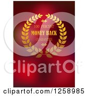 Clipart Of A Wreath Money Back Guarantee Label On Red Royalty Free Vector Illustration