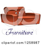 Clipart Of A Happy Sofa With Furniture Text Royalty Free Vector Illustration by Vector Tradition SM