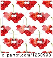 Clipart Of A Seamless Background Pattern Of Happy Cranberries Royalty Free Vector Illustration