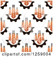 Clipart Of A Seamless Wheat And Gear Background Pattern Royalty Free Vector Illustration