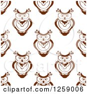 Clipart Of A Seamless Background Pattern Of Brown Owls Royalty Free Vector Illustration