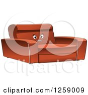 Clipart Of A Happy Sofa Royalty Free Vector Illustration by Vector Tradition SM