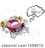 Clipart Of A Talking Car Washing Itself Royalty Free Vector Illustration