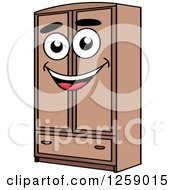 Clipart Of A Happy Wardrobe Royalty Free Vector Illustration by Vector Tradition SM