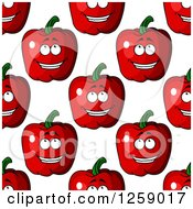 Clipart Of A Seamless Pattern Background Of Happy Red Apples Royalty Free Vector Illustration