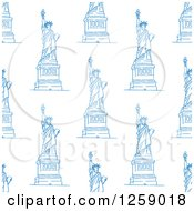 Clipart Of A Seamless Background Pattern Of Blue Statues Of Liberty Royalty Free Vector Illustration by Vector Tradition SM