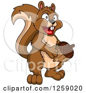 Clipart Of A Happy Brown Squirrel Holding An Acorn Royalty Free Vector Illustration by Vector Tradition SM
