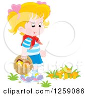 Clipart Of A Blond White Girl Gathering Wild Mushrooms Royalty Free Vector Illustration