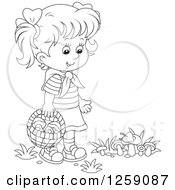 Clipart Of A Black And White Girl Gathering Wild Mushrooms Royalty Free Vector Illustration