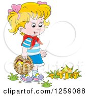 Clipart Of A Blond Caucasian Girl Gathering Wild Mushrooms Royalty Free Vector Illustration