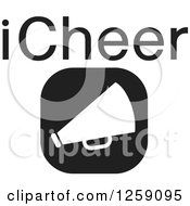 Clipart Of A Black And White Square Megaphone Icon With ICheer Text Royalty Free Vector Illustration