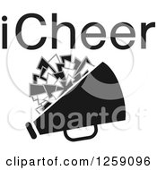 Clipart Of A Square Megaphone And Pom Pom Icon With ICheer Text Royalty Free Vector Illustration