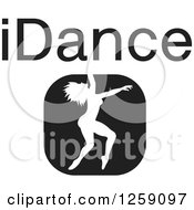 Clipart Of A Black And White Square Dancer Icon With IDance Text Royalty Free Vector Illustration