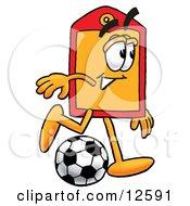 Price Tag Mascot Cartoon Character Kicking A Soccer Ball