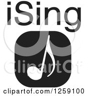 Clipart Of A Black And White Square Music Note Icon With ISing Text Royalty Free Vector Illustration