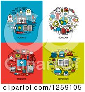 Clipart Of Science Ecology Medicine Education Icons Royalty Free Vector Illustration