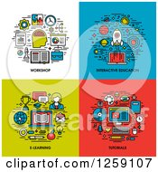 Clipart Of Workshop Interactive Education E Learning Tutorials Icons Royalty Free Vector Illustration by elena