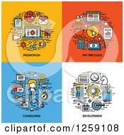 Clipart Of Promotion Pay Per Click Consulting Development Icons Royalty Free Vector Illustration by elena
