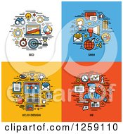 Clipart Of SEO SMM UI And UX Design HR Icons Royalty Free Vector Illustration by elena