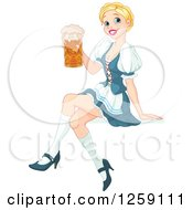 Clipart Of A Happy Blond Oktoberfest Beer Maiden Woman Sitting Royalty Free Vector Illustration