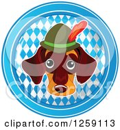 Clipart Of A German Dachshund Oktoberfest Dog Over A Circle Of Diamonds Royalty Free Vector Illustration
