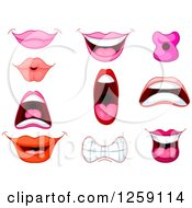 Clipart Of Mouths And Lips Royalty Free Vector Illustration