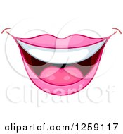 Clipart Of A Womans Pink Smiling Mouth Royalty Free Vector Illustration